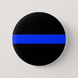Police Blue Thin Line Button. 6 Cm Round Badge