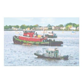 Police Boat and Two Tugboats Custom Stationery