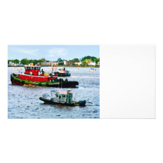 Police Boat and Two Tugboats Customized Photo Card