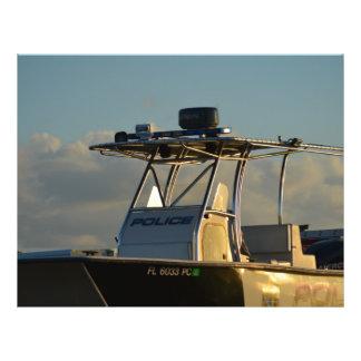 police boat bridge piece officer image flyer design