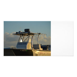 police boat bridge piece officer image custom photo card