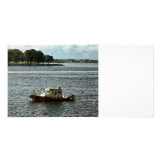 Police Boat Norfolk VA Custom Photo Card