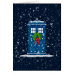 """Police Box in Christmas Snow"" Greeting Card"