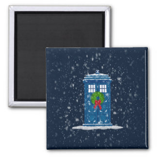 """""""Police Box in Christmas Snow"""" Square Magnet"""