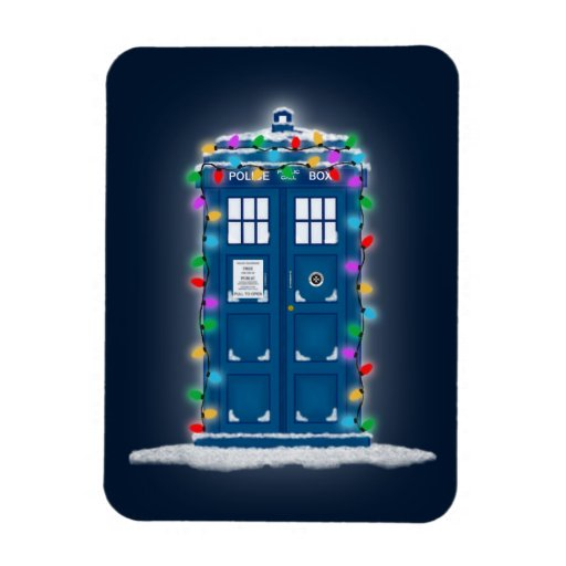"""""""Police Box with Christmas Lights"""" Rectangle Magnet"""