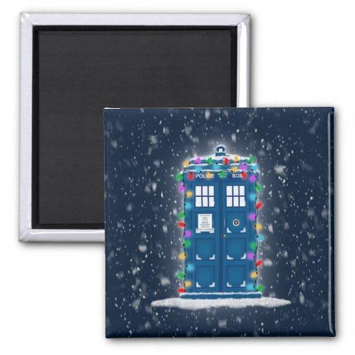 """Police Box with Christmas Lights & Snow"" Fridge Magnets"
