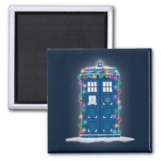 """""""Police Box with Christmas Lights"""" Square Magnet"""