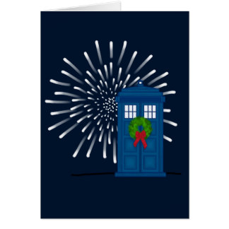 """Police Box with Christmas Wreath"" Card"