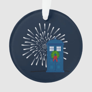 """Police Box with Christmas Wreath"" Ornament"