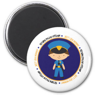 Police Boy like Mommy 6 Cm Round Magnet