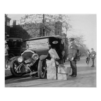 Police Capture Bootleggers Car, 1922 Vintage Photo Poster