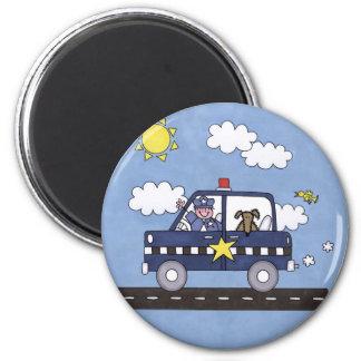 Police Car 6 Cm Round Magnet