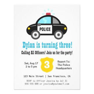 Police Car Boys Birthday Party Invitations