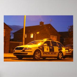 police car night poster