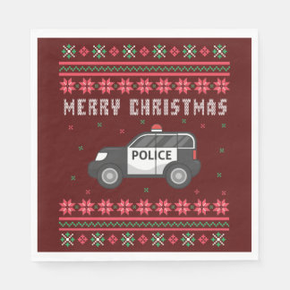 Police Car Ugly Christmas Sweater Disposable Serviettes