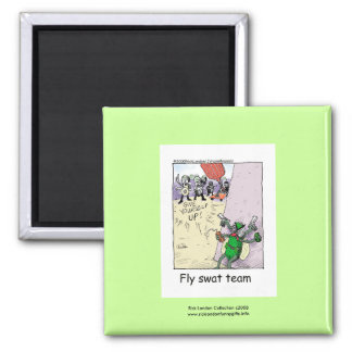 Police Cartoon Fly Swat Team On A Novelty Magnet Magnets