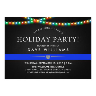 Police Colorful Christmas Party Card