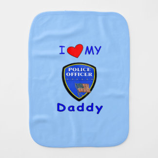Police Daddy Baby Burp Cloths