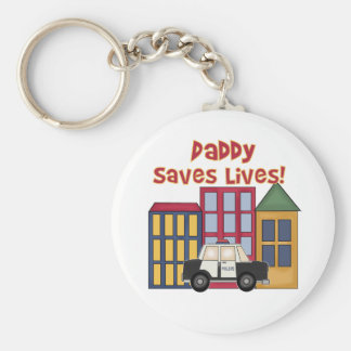 Police Daddy Saves Lives Basic Round Button Key Ring