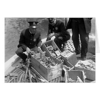 Police Destroying Gun Stash, 1923 Card