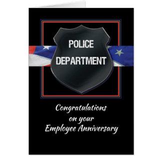 Police Employee Anniversary Congratulations, BlacK Card