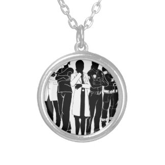 Police Fire Doctor Emergency Team Silhouettes Silver Plated Necklace