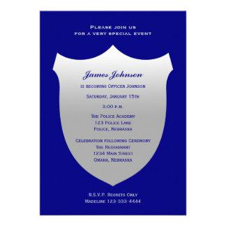 Police Graduation Invitations Silver Badge on Navy Custom Invites
