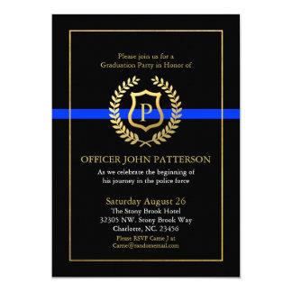 Police Graduation   Retirement Themed Monogram 13 Cm X 18 Cm Invitation Card