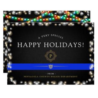 Police Happy Holidays   Christmas Style Custom Card