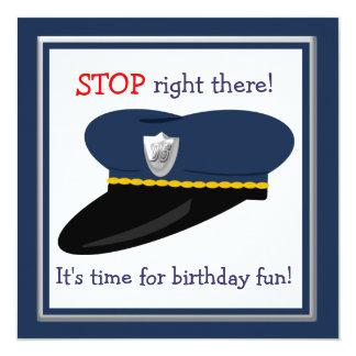 Police Hat Cop Theme Birthday Party 13 Cm X 13 Cm Square Invitation Card