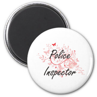 Police Inspector Artistic Job Design with Butterfl 6 Cm Round Magnet