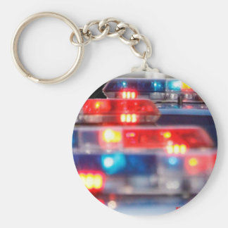 Police Light Bars Basic Round Button Key Ring