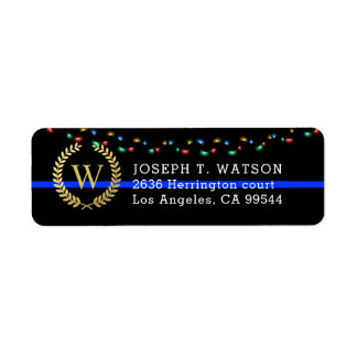 Police Monogram Faux Gold Wreath Holiday Address Return Address Label