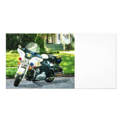 Police Motorcycle Photo Card