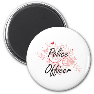 Police Officer Artistic Job Design with Butterflie 6 Cm Round Magnet