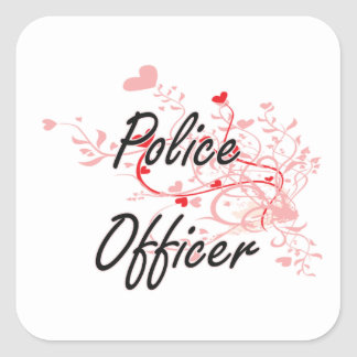 Police Officer Artistic Job Design with Hearts Square Sticker