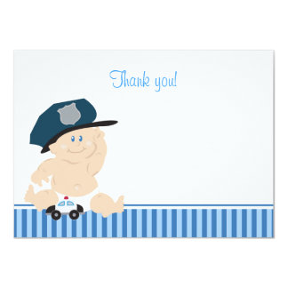 Police Officer Baby Cop Flat Thank you Note 11 Cm X 16 Cm Invitation Card