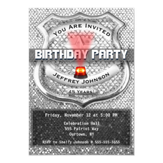 Police Officer BIrthday Party Invitation