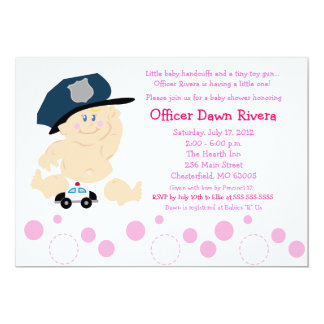 POLICE OFFICER Cop GIRL Baby Shower Invitation 5x7