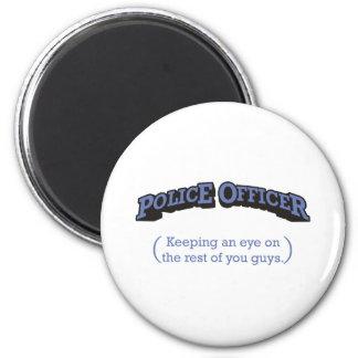 Police Officer / Eye 6 Cm Round Magnet