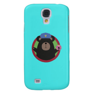 Police Officer Grizzly with Pink Donut Q1Q Galaxy S4 Case