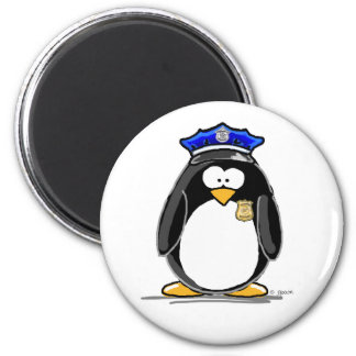 Police Officer Penguin 6 Cm Round Magnet