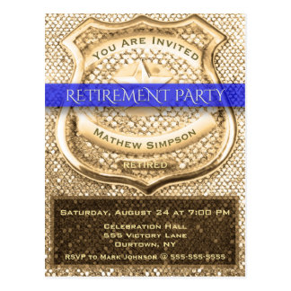 Police Officer Retirement Party Postcard