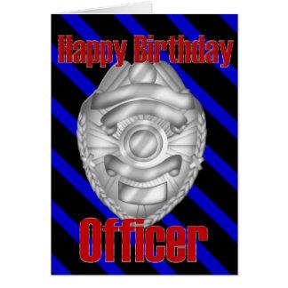 Police Officer Sheriff Badge Happy Birthday Card
