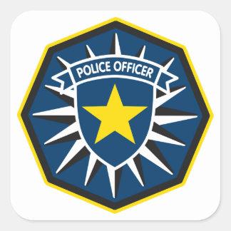 Police Officer Star Square Sticker