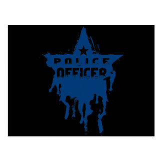 Police Officer Wet Stencil Postcard