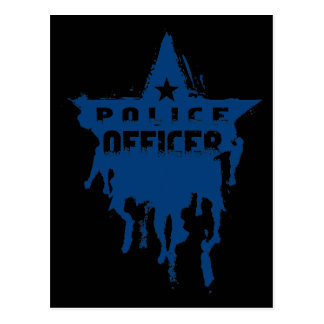 Police Officer Wet Stencil Postcard