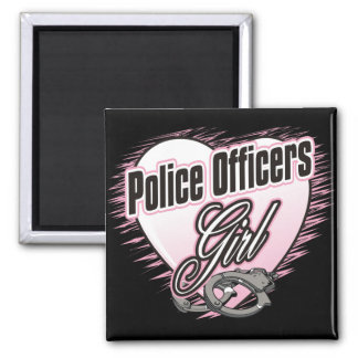 Police Officers Girl Square Magnet