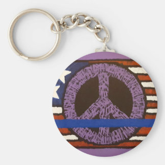 Police Peace Sign. Basic Round Button Key Ring