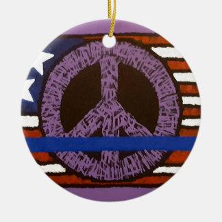 Police Peace Sign. Ceramic Ornament